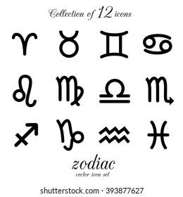 Zodiac, astrology, horoscope icon set. Vector illustration.