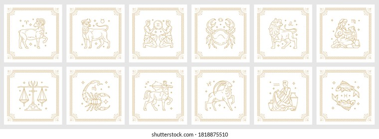 Zodiac astrology horoscope signs linear design vector illustrations set. Elegant line art symbols and icons of esoteric zodiacal horoscope templates for logo or poster isolated on white background.