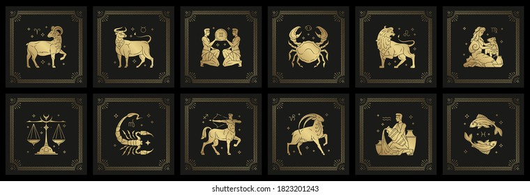 Zodiac astrology horoscope signs linocut silhouettes design vector illustrations set. Elegant symbols and icons of esoteric zodiacal horoscope templates for logo or poster isolated on black background