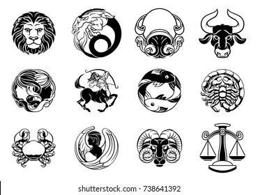 Zodiac astrology horoscope star signs symbols icon set