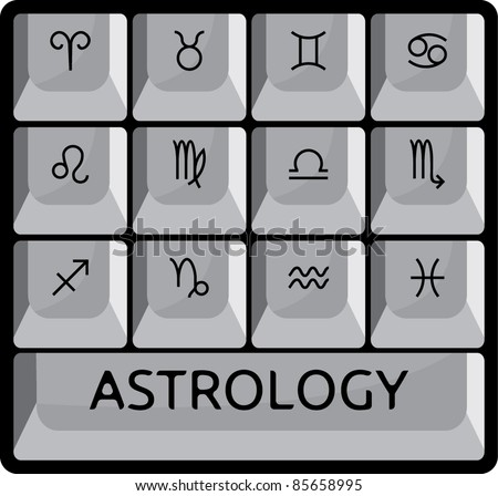 Zodiac Astrology Signs Keyboard Button Set Stock Vector Royalty