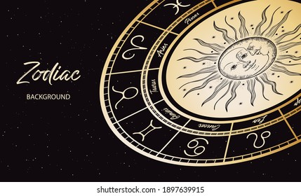 Zodiac background. Astrological horoscope. Horizontal banner with the horoscope circle. The face of the sun and moon.