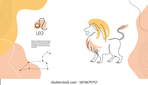 Zodiac background. Leo constellation. Fire element. Horizontal banner. One line Minimalistic graphics. Continuous line.