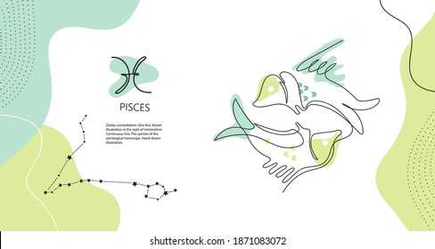 Zodiac background. Pisces constellation. The element of water. Horizontal banner. One line. Minimalistic graphics. Continuous line.