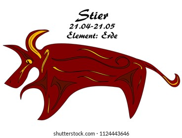 Zodiac bull with german text: bull, date, element: earth, vector graphics eps10