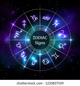 Zodiac circle with astrological symbols isolated on blurred cosmic background. Mystic representation of star signs for astrology horoscope. Zodiac calendar, mystic birthday constellation vector