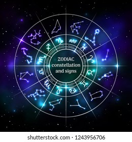 Zodiac circle with astrology symbols in neon style. Geometric representation of star signs for astrology horoscope. Zodiac calendar on universe background. Astrology constellation vector illustration