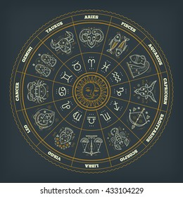 Zodiac circle with astrology symbols. Vector illustration.