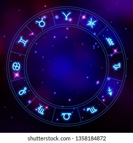 Zodiac circle frame, star constellations, horoscope symbols, vector illustration