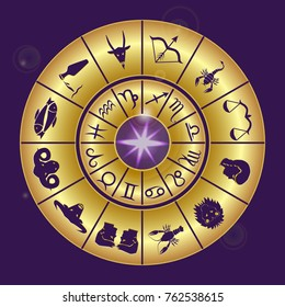 Zodiac circle of a horoscope in gold on a dark purple background.