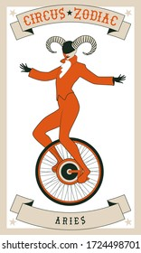 Zodiac Circus. Aries sign. Tightrope walker wearing horns acting on unicycle