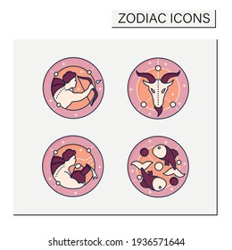 Zodiac color icons set. Fourth fire signs in zodiac.Birth symbols.Aquarius,sagittarius,capricorn,pisces.Mystic horoscope signs.Astrological science concept.Isolated vector illustrations