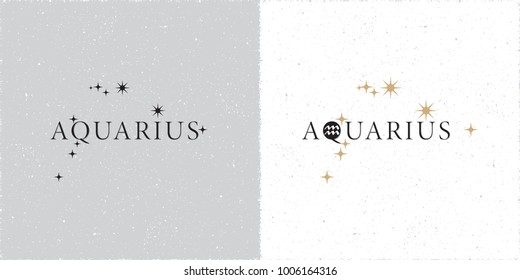 Zodiac Constellation Aquarius Stars and Logo Lettering with Aquarius Zodiac Sign Symbol - Black and Beige Elements on White Grunge Background - Vector Contrast Graphic Design