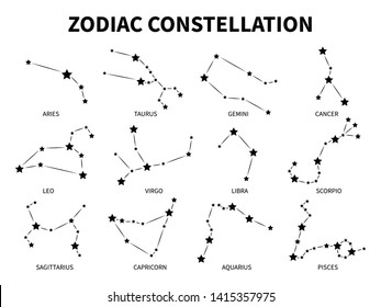 Zodiac constellation. Aries taurus gemini cancer leo virgo libra scorpio pisces zodiacal mystic astrology vector black isolated horoscope signs