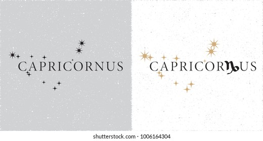 Zodiac Constellation Capricornus Stars and Logo Lettering with Capricorn Zodiac Sign Symbol - Black and Beige Elements on White Grunge Background - Vector Contrast Graphic Design
