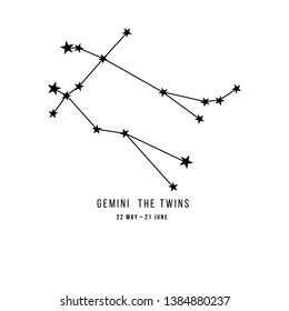 Zodiac constellation Gemini - The Twins. Vector illustration