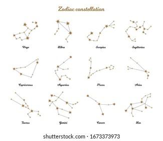 Zodiac constellation. Horoscope. Isolated signs of the zodiac. Gold stars on a white background. Aries, taurus, gemini, cancer, leo, virgo, libra, scorpio, sagittarius, capricorn, aquarius, pisces