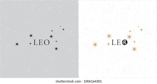 Zodiac Constellation Leo Stars and Logo Lettering with Leo Zodiac Sign Symbol - Black and Beige Elements on White Grunge Background - Vector Contrast Graphic Design