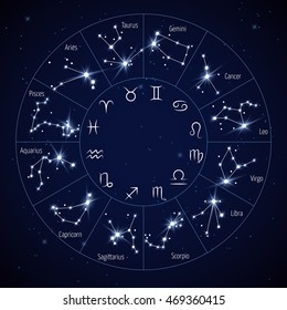 Zodiac constellation map with leo virgo scorpio libra aquarius sagittarius pisces capricorn taurus aries gemini cancer symbols vector illustration