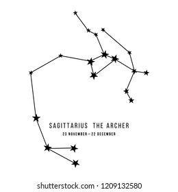 Zodiac constellation Sagittarius - The Archer. Vector illustration