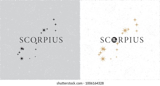 Zodiac Constellation Scorpius Stars and Logo Lettering with Scorpio Zodiac Sign Symbol - Black and Beige Elements on White Grunge Background - Vector Contrast Graphic Design