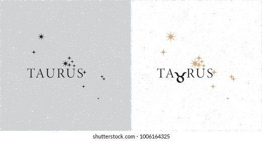 Zodiac Constellation Taurus Stars and Logo Lettering with Taurus Zodiac Sign Symbol - Black and Beige Elements on White Grunge Background - Vector Contrast Graphic Design