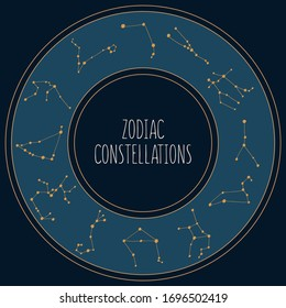 Zodiac constellations in the circle on the night sky background