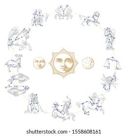 Zodiakkonstellationen auf handgezeichnet astrologischen Symbolen im Gravierstil. Retro-grafische Illustrationen der Vektorillustration von Horoskop-Zeichen mit Sonne, Mond und Crescent.