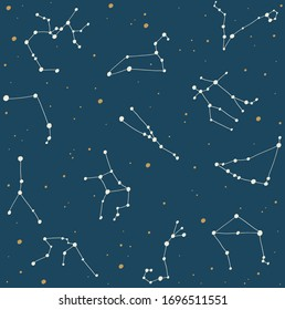 Zodiac constellations on the night sky background