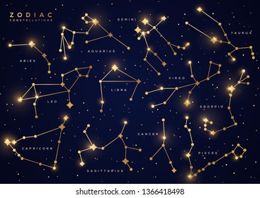 Zodiac constellations set, vector illustration. Astrological symbols with golden gradient effect. Connected stars on night sky map background. Space with shiny, sparkling stars