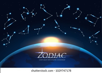 Zodiac Design concept astrology sings around the world. Horoscope set: Leo, Virgo, Scorpio, Libra, Aquarius, Sagitarius, Pisces, Capricorn, Taurus, Aries, Gemini, Cancer. EPS Vector illustration.