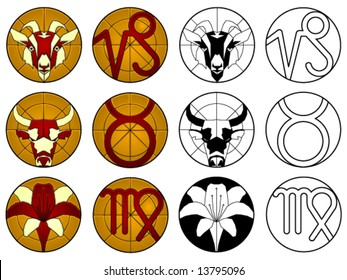 Zodiac earth signs (capricorn, taurus and virgo) in suncatcher style and black & white - others available