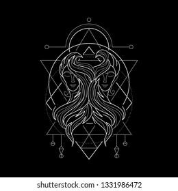 Zodiac Gemini geometric Style for merchandise or apparel design