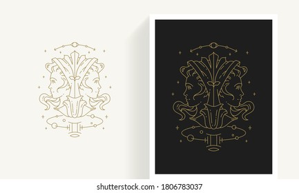 Zodiac gemini horoscope sign line art silhouette design vector illustration. Creative decorative elegant linear astrology zodiac gemini emblem template for logo or poster decoration.