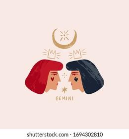 Zodiac girl Gemini characters. Space head sign. Vector illustration.