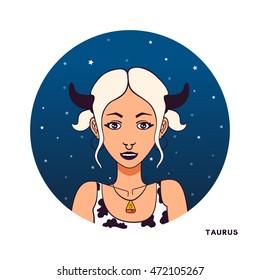 Zodiac girl illustration. Color avatar. Young beautiful cartoon woman. Night star sky background in circle shape. Astrology symbol of zodiac sign Taurus.