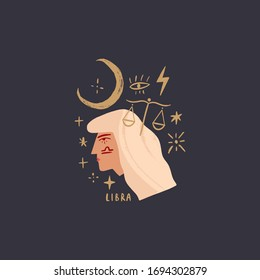 Zodiac girl Libra character. Space head sign. Vector illustration.
