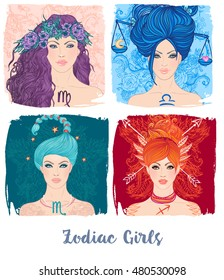 Zodiac girls set: vector illustration of astrological signs as a beautiful woman. Future telling, horoscope, alchemy, spirituality, occultism, fashion.