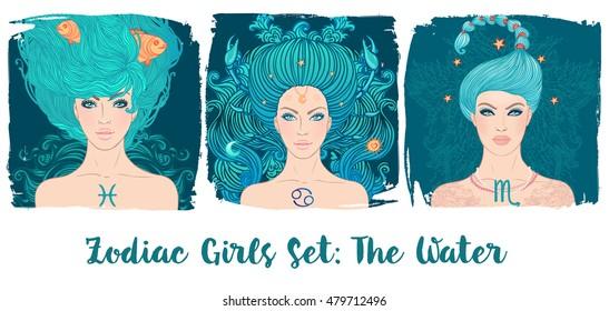 Zodiac Girls Set: Wasser. Vektorgrafik von Pisces, Krebs, Scorpio astrologischen Zeichen als eine schöne Frau. Zukunft erzählen, Horoskop, Alchemie, Spiritualität, Okkultismus, Mode.