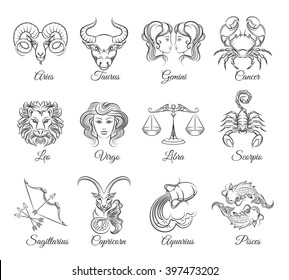 Zodiac graphic signs vector. Astrological symbols icons