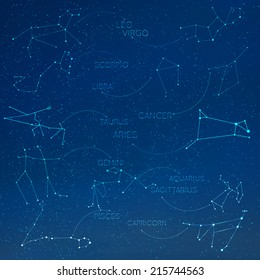 Zodiac, horoscope constellation in skyline with many other stars. Leo, virgo, scorpio, libra, Aquarius, sagitarius, pisces, capricorn, Taurus, aries, gemini, cancer vector illustraion