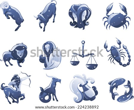 Zodiac Icon Illustrations Cartoon Vector Illustration Stock Vector