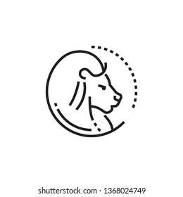 Zodiac icon. Lion zodiac icon. Leo zodiac sign.  Astrology sign. Fifth zodiac icon.