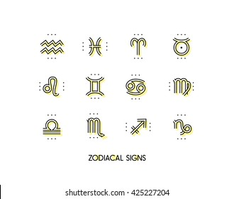Zodiac icon. Sacred symbols. Astrology signs. Vintage thin line vector collection. Isolated on white background.