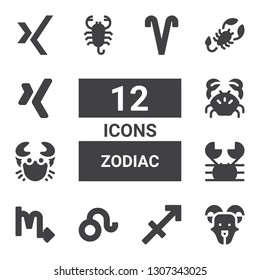 zodiac icon set. Collection of 12 filled zodiac icons included Goat, Sagittarius, Leo, Scorpio, Crab, Scorpion, Xing, Aries