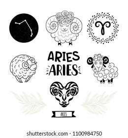 Zodiac icons set. Horoscope collection. Freehand drawing. Aries
