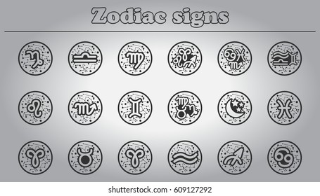 Zodiac icons set. Zodiac signs collection.