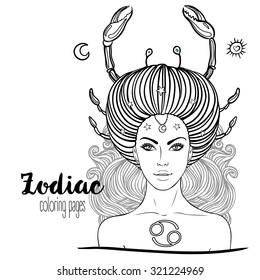 Zodiac Taurus Girl Coloring Page   Shutterstock 325965008   Fairy coloring  pages, Coloring book pages, Coloring books   280x260