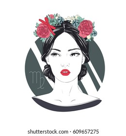 Zodiac: Illustration of Virgo zodiac sign as a beautiful girl. Comic style fashion illustration.