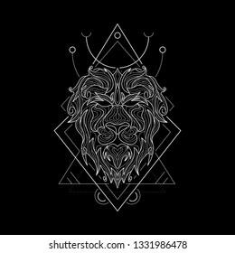 Zodiac Leo geometric Style for merchandise or apparel design